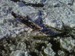 Canoe Racing on the frozen St Lawrence